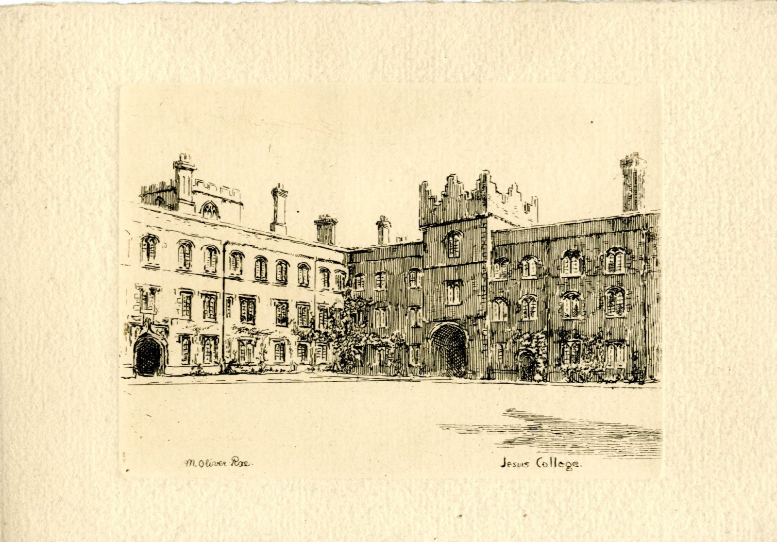View of First Court by M. Oliver Rae. Mabel Oliver Rae Parker was born in Cambridge at Jesus Lane and, after attending the Slade School of Fine Art, developed a reputation as an accomplished artist. Part of her oeuvre included depictions of Oxbridge Colleges, including this one of Jesus College (no doubt a familiar location considering her birthplace) used for a Christmas card of about 1900.