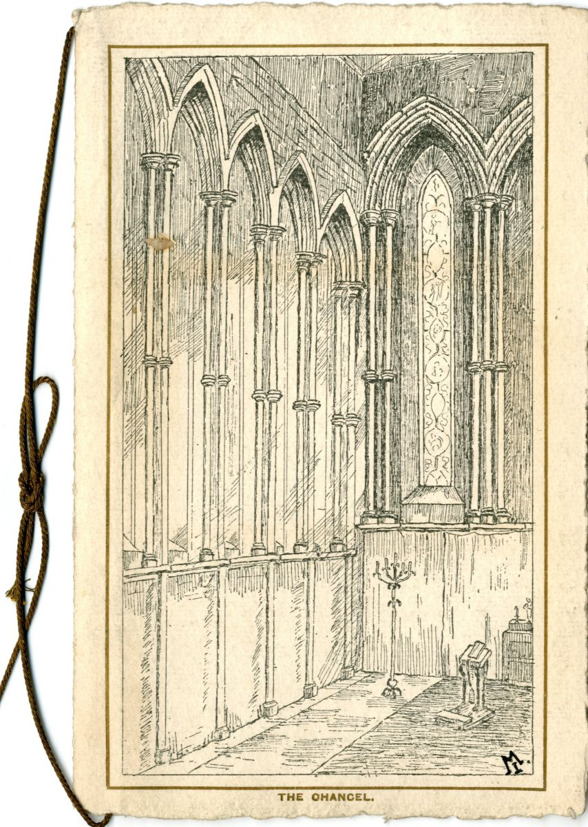 Drawing of the window arches on the north side of the chancel. Christmas card 1911