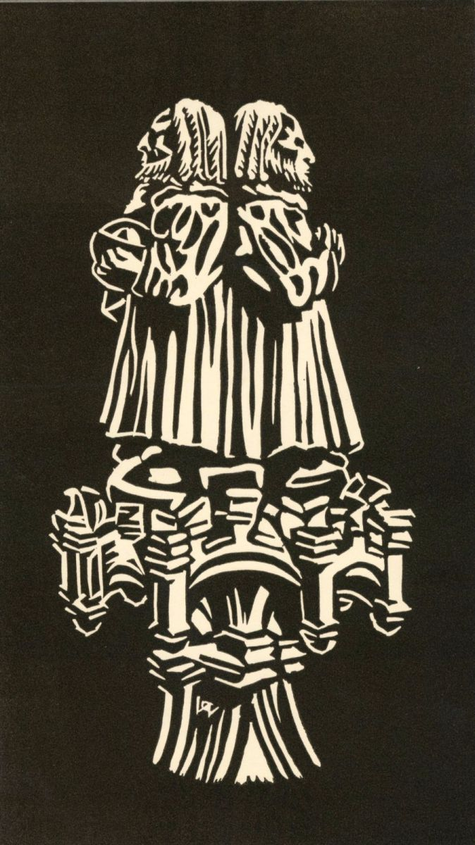 Detail of carving from the Master's stall in the College Chapel by G. W. P. Andrew. Christmas card c. 1951