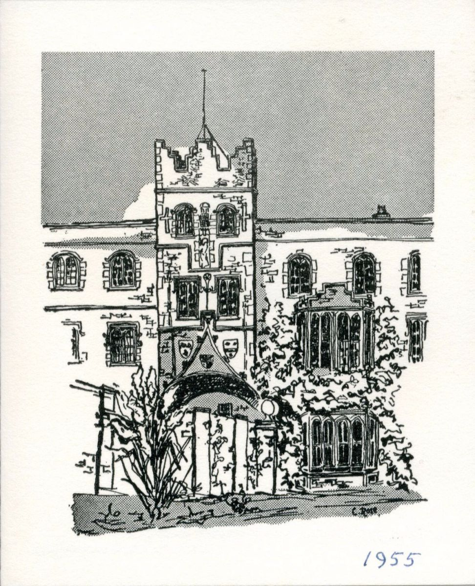 View of the Gatehouse from the Master's Garden by C. Rose. Unfortunately it has not been possible to identify C. Rose or if they had a connection to the College. Christmas card 1955.