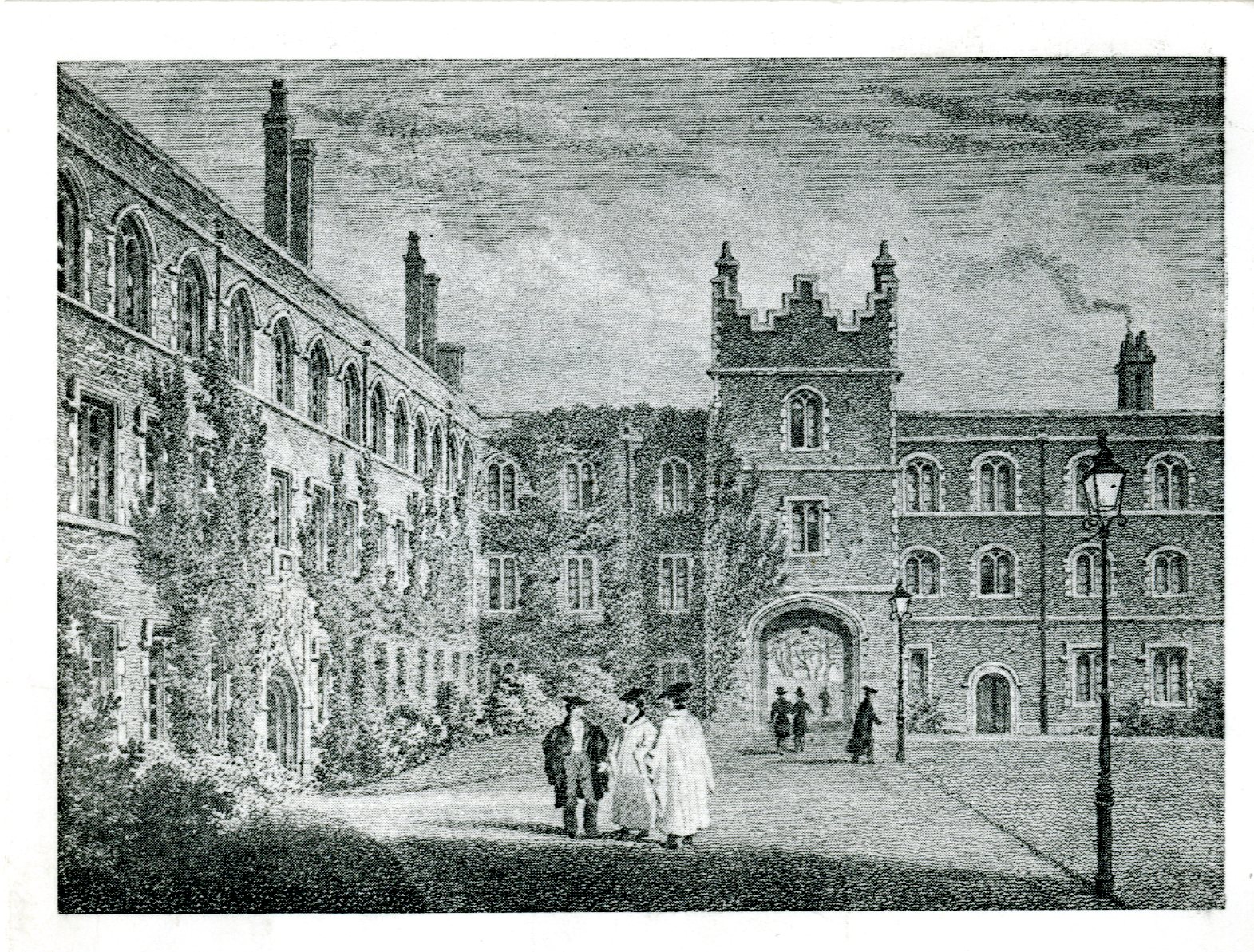 Engraving of First Court in about 1830. Christmas card 1980.