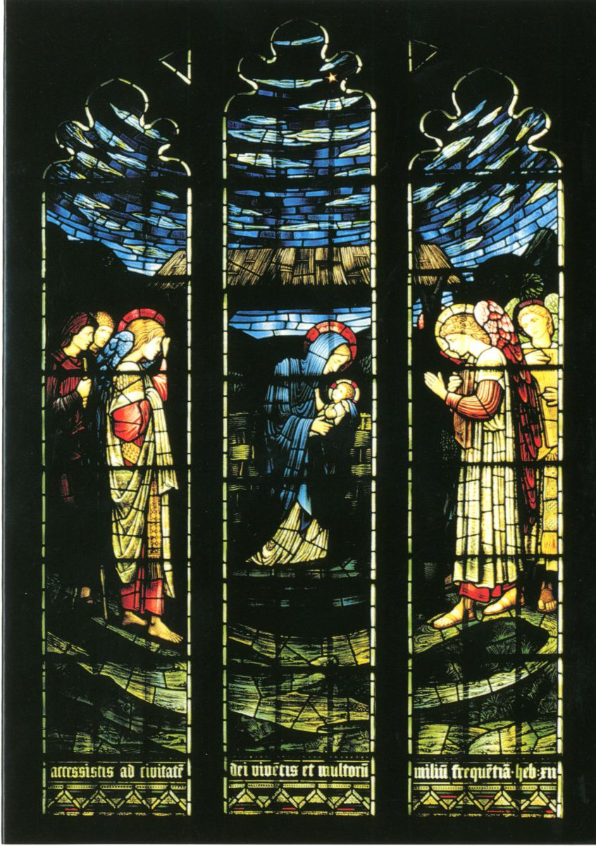 'The Nativity', Jesus College Chapel, designed by Sir Edward Burne-Jones and manufactured by Morris & Co. Installed in 1914 above the south choir stalls in memory to Dr. Henry Morgan, Master 1885-1912. Christmas card 2002.