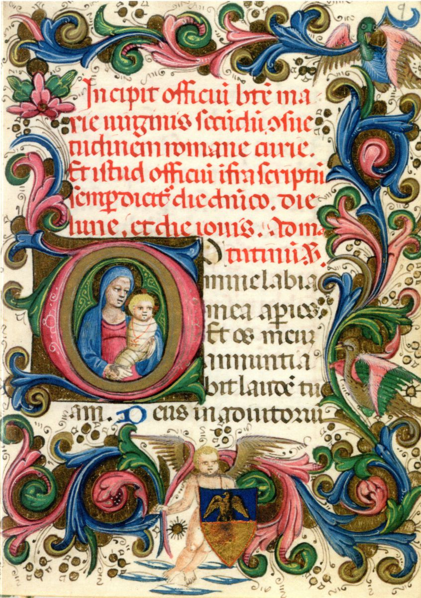 "An illumination from a 15th century Book of Hours, probably Florentine, which was bequeathed to the College by Arthur Gray, Master 1912-1940. The text in red introduces the office of the Blessed Virgin Mary after the Roman use and in black gives the opening response: ""Oh Lord, thous shalt open my lips and my mouth shall procalim thy praise"". Christmas card 2003."