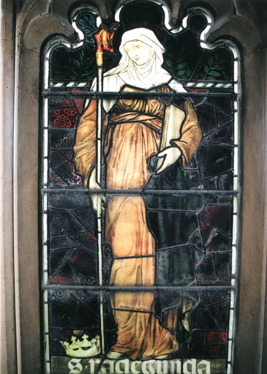'Saint Radegunda'. a detail from a stained glass window in the south transept of Jesus College Chapel, designed by Sir. Edward Burne-Jones and manufactured by Morris & Co in the 1870s. Christmas card 2004