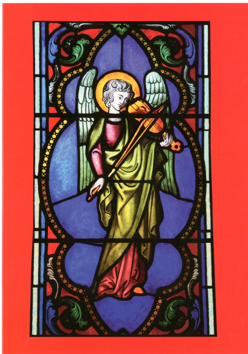 A detail from a stained glass window in the organ loft of Jesus College Chapel, designed by Henri Gerente and installed in 1849. Christmas card 2009.