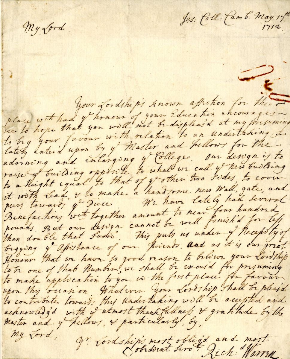 Letter from Richard Warren to Lord St. John, 17th May 1718