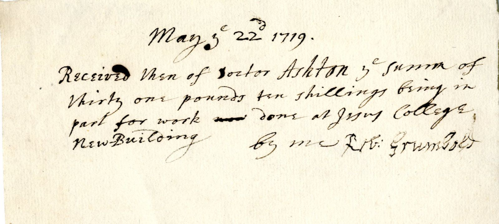 Receipt from Robert Grumbold, 22nd May 1719