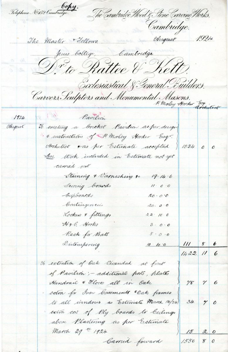 Extract from final invoice for work done on pavilion by Rattee and Kett, August 1924
