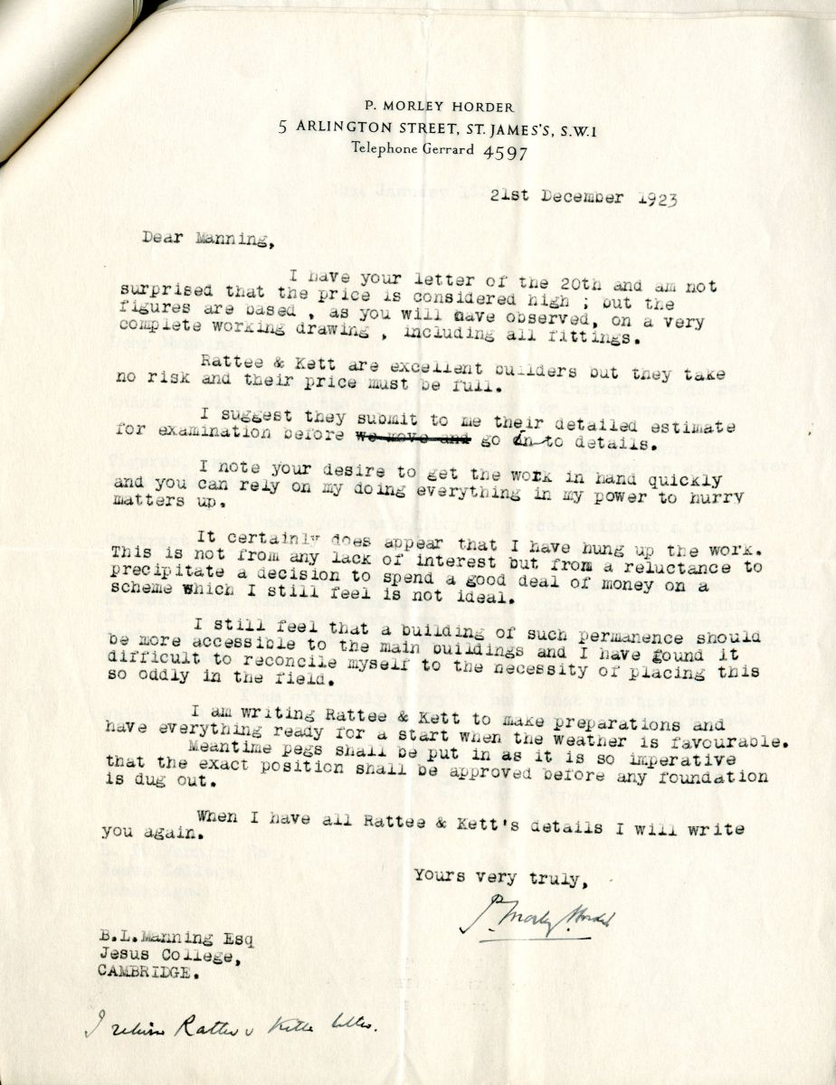 Letter from Morley-Horder to Manning, 21st December 1923