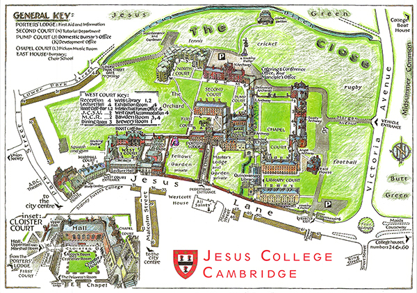 Jesus College map