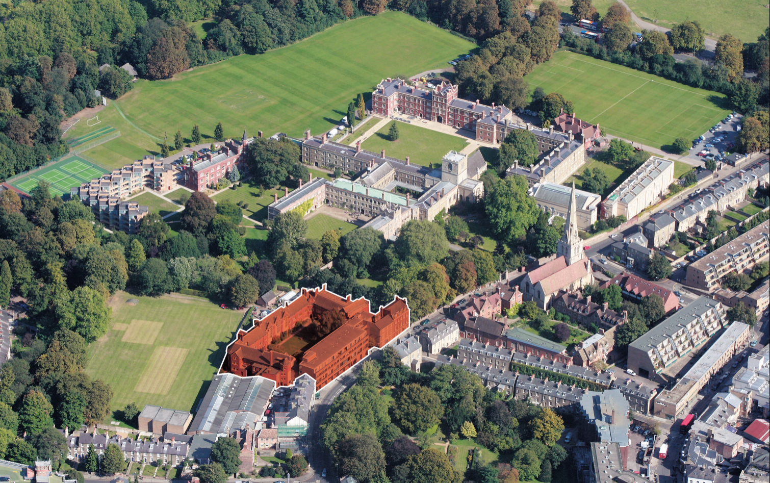 Aerial view of West Court