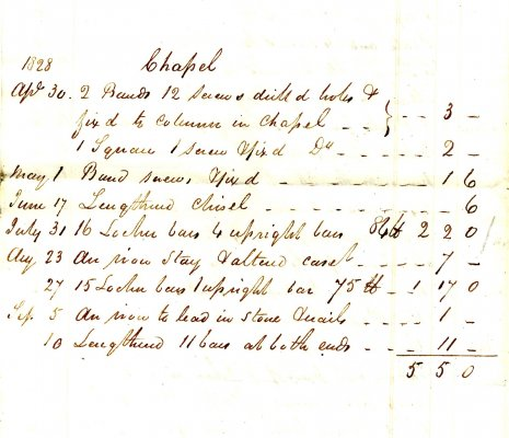 1828 bill for work done by Coe
