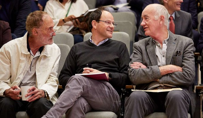 Photo of Professor Michael Waring (Emeritus Fellow), Professor Roberto Cipolla (Fellow) and Mr Nicholas Ray (Emeritus Fellow)