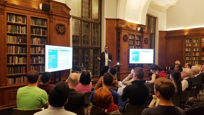 Photo of Dr Tayyab Safdar delivering his lecture
