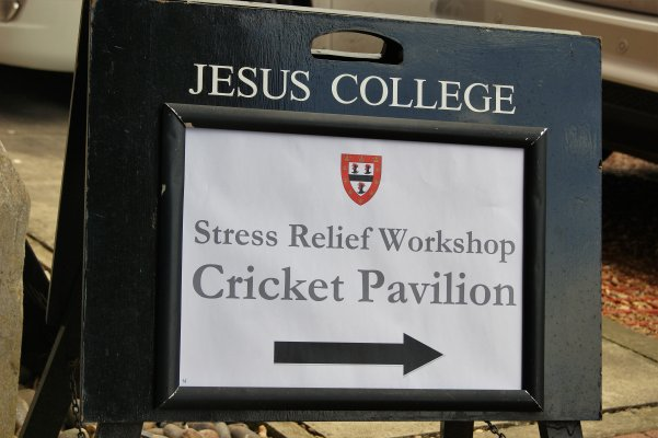 A sign for the workshop, reading: Stress relief workshop, Cricket Pavilion