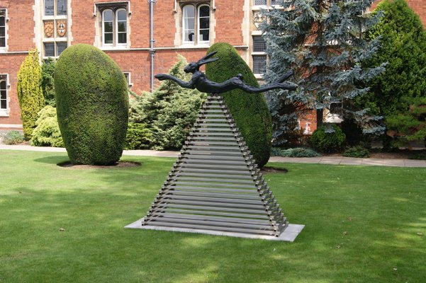 Six foot leaping hare on steel pyramid by Barry Flanagan