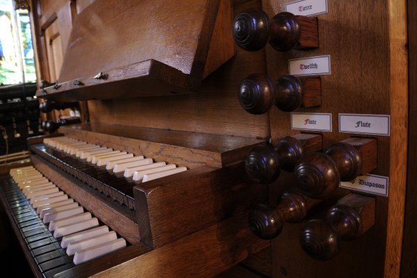 Sutton Organ keys and stops