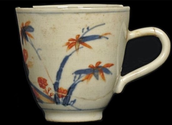 Chocolate cup (ref: STJ07 <533>)  This was one of two Chinese porcelain chocolate cups decorated with an Imari pattern of bamboo