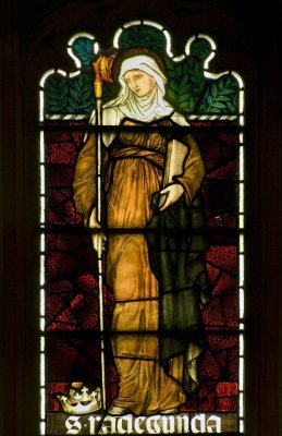 Close-up of of St Radegund stained glass