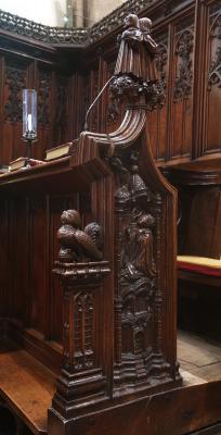 Wood carvings on pews in Jesus College Chapel
