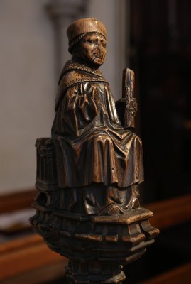 Wood carved figure of a Bishop
