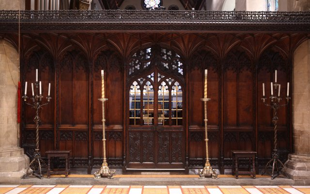 Carved screen in Jesus College Chapel