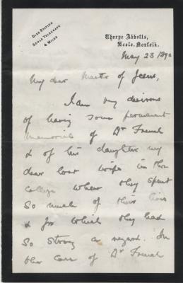 Sir Edward Kay letter p1