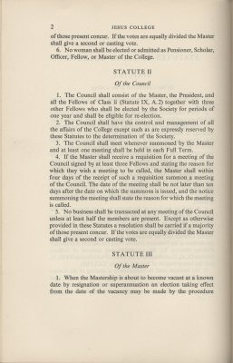 Extract from 1953 Statutes (ref: JCGB/4/3/16) stating women should not be member of the College