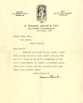 Covering letter from B McLean Leach and Son