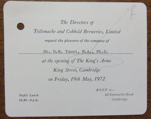 Invitation from Tollemache and Cobbold Breweries Limited to the opening of the King's Arms
