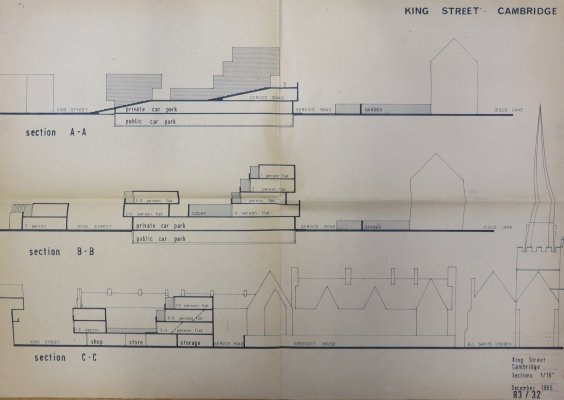 King Street redevelopment early proposals: Sections. Plan number 83/32. Shows sections AA-CC