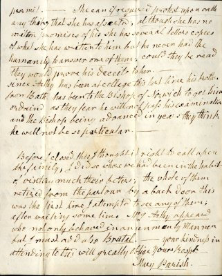 Mary Parish's letter to William French, p4