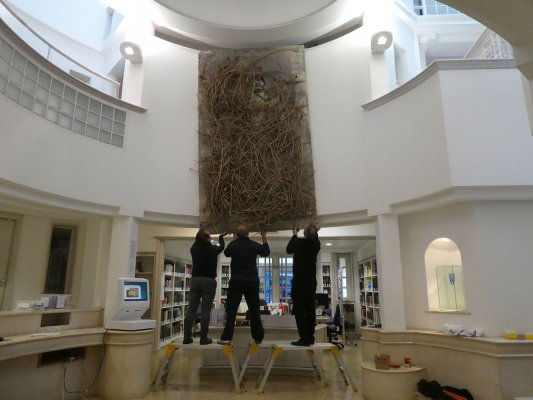 Artwork being installed