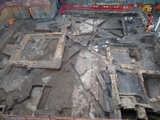 An aerial view of an archaeological excavation site.