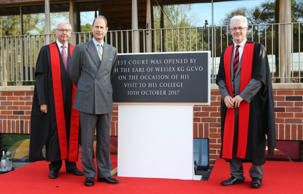 Left to right: University of Cambridge Vice Chancellor, Professor Stephen Toope; HRH The Earl of Wessex and Professor Ian White,