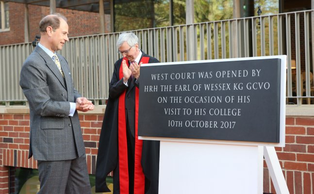 HRH The Earl of Wessex reading the commemorative West Court plaque