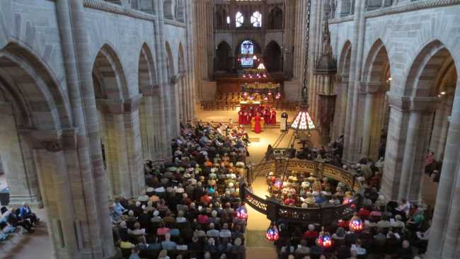 Photo of Choristers singing Vespers in Basel Munster