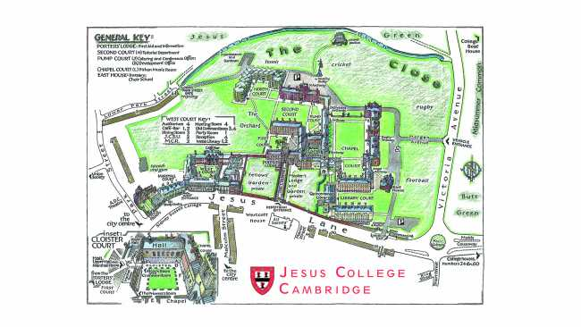 Image of Jesus College map