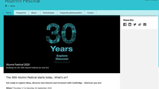 Image ofCambridge University Alumni Festival kicks off