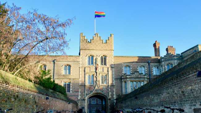 Image ofRainbow Flag flies over College