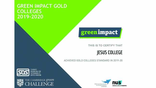 Image ofJesus College wins Green Impact award