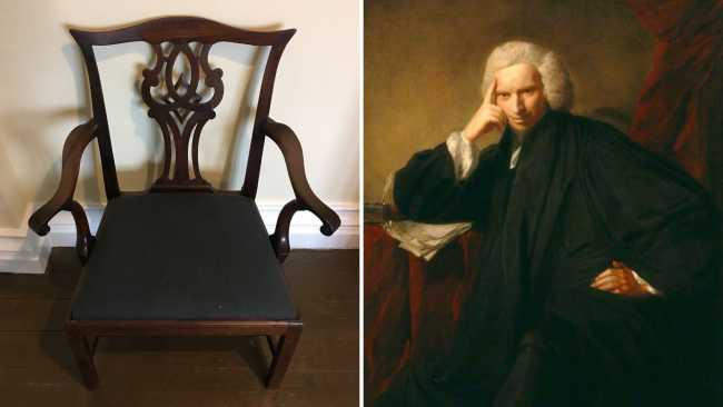 Image ofCollege archivist finds Laurence Sterne's chair while rummaging in storage