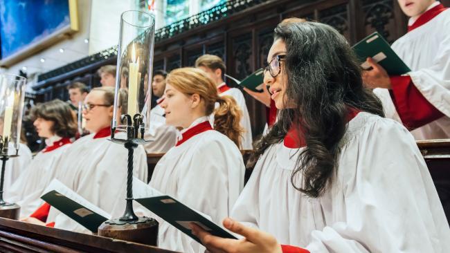 Image of Choir members singing