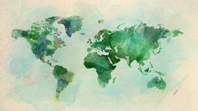 Image of watercolour painting of the world