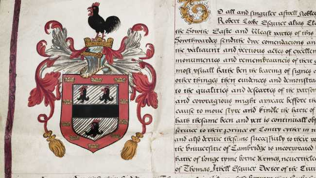 Photo of Jesus College Grant of Arms. Archive Ref: JCGB/4/2